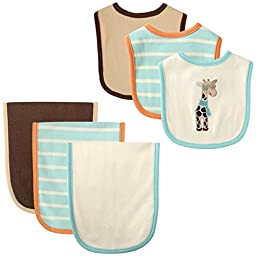 Hudson Baby 6 Piece Bib and Burp Cloth Set, Giraffe