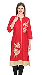 Jainish Women's Red Cotton Kurti