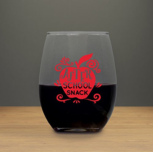 After School Snack, 21 ounce Stemless Wine Glass Tumbler Liquid Therapy, Present for Teacher Gift for Coworkers