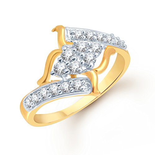 VK Jewels Modern (CZ) Gold and Rhodium Plated Ring - FR1036G [VKFR1036G] (yellow)