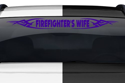 Sticky Creations - Design #106 Firefighter's Wife Tribal Spikes Windshield Decal Sticker Vinyl Graphic Rear Back Window Banner Tailgate Car Truck SUV Van Go Cart Boat Trailer Wall | 36
