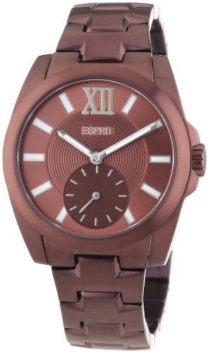 Esprit ES103592009 - Reloj analógico de cuarzo para hombre con correa de acero inoxidable, color marrón