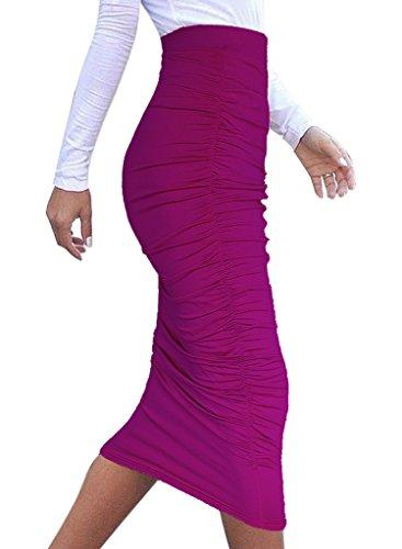 Merryfun Women's High Waist Ruched Frill Ruffle Pencil Mid-calf Skirt, Purpl XXL (Sexy Long Skirts)