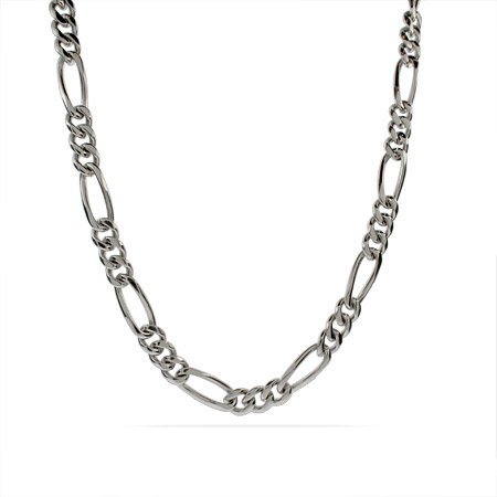 9mm Men's Stainless Steel Figaro Necklace Length 18 inches (Lengths 18 inches 20 inches 24 inches Available)