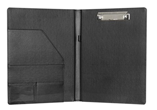 Clobeau Multifunctional A4 Leather Clipboard Office Meeting Writing Drawing Desk Board Pad Lever Arch Files Document Project Folder Binder Storage Organizer with Pen Loop, Black (Hotel Desk Folder compare prices)