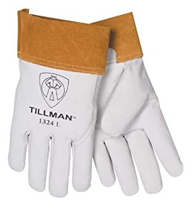 "Top Grain Pearl Kidskin TIG Welders Gloves With Para-aramid synthetic fiber® Stitching, Wing Thumb And 2"" Cuff (Carded) by John Tillman & Co"