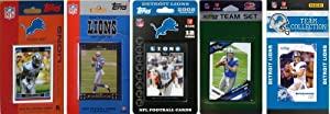 NFL Detroit Lions 5 Different Licensed Trading Card Team Sets by C&I Collectables