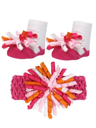 Baby Girls Pink Orange And White Ribbon Bow Headwrap And Mary Jane Sock Set front-952577