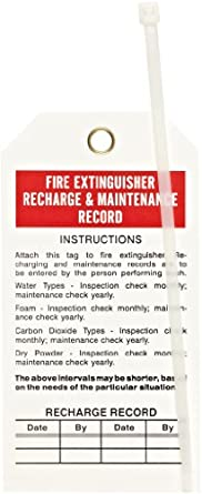 "Brady 65371 5-3/4"" Height, 3"" Width, B-851 Economy Polyester, Red And Black On White Fire Extinguisher Tags (Pack Of 25)"