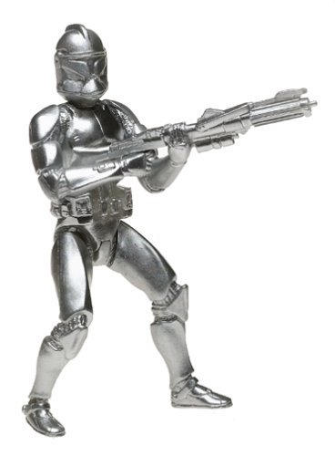 Star Wars 2004 Silver Saga Edition Convention Exclusive Silver Clone Trooper 3 3/4 Inch Action Figure