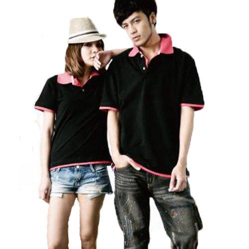 Kelly&Sally オリジナルポロシャツ メンズ カジュアル トップス【cn-ie-69】 (M, ブラック×ピンク)