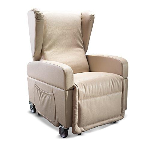 Goldflex - Poltrona Mod. Good Relax, 2 MOTORI reclinabile per ANZIANI o DISABLI con sistema ALZAPERSONA, e KIT 4 RUOTE Piroettanti e Frenanti, Poltrona Trasportabile e Movibile, MANIGLIONE spingi persona e Telecomando IVA AGEVOLATA al 4% - reclinazione schiena / gambe indipendente