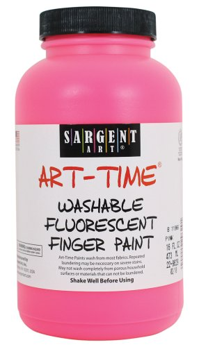 Sargent Art 22-9629 16-Ounce Art Time Washable Fluorescent Finger Paint, Pink - 1