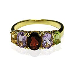 Gold Overlay Multi-Gemstone Ring