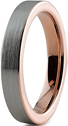 buy Tungsten Wedding Band Ring 4Mm For Men Women Comfort Fit 18K Rose Gold Plated Pipe Cut Flat Brushed Polished Lifetime Guarantee Size 8.5