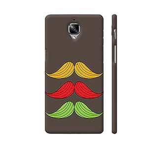Colorpur Three Moustaches On Brown Designer Mobile Phone Case Back Cover For OnePlus 3 | Artist: Designer Chennai