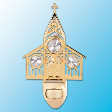 24k Gold Church Night Light - Clear Swarovski Crystal
