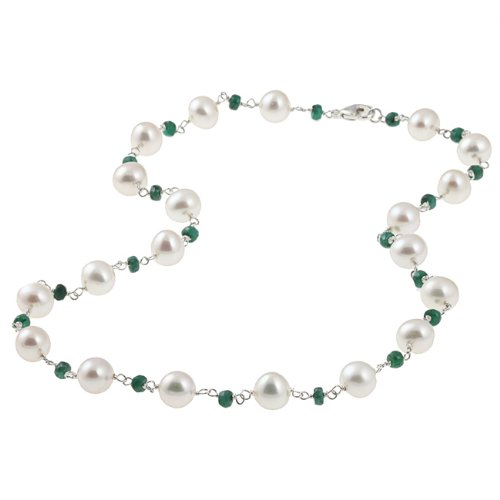 DaVonna Sterling Silver Freshwater Pearl Necklace (8-8.5 mm)