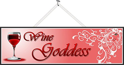 Wine Goddess Sign in Red