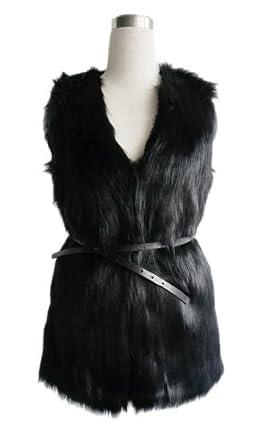 LookbookStore Vintage Trend Celeb Black Faux Fur Long Vest
