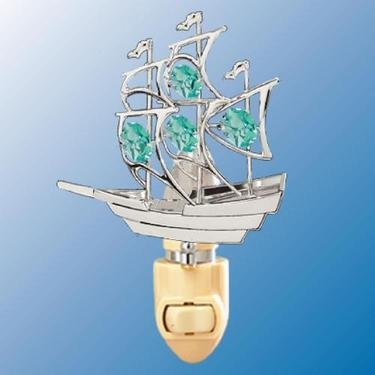 Chrome Boat Night Light - Green Swarovski Crystal
