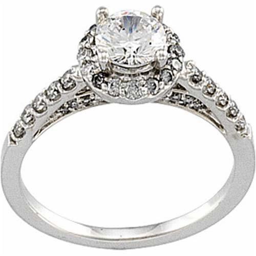 0 07 Ct T W Round Brilliant Diamond Platinum Engagement Ring Semi Mount Set