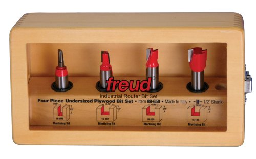"Freud 89-650 Four Piece Undersized Plywood Router Bit Set 1/2"" Shank Ideal for 1/4"" to 3/4"" Plywood With TiCo Hi-Density Carbide"