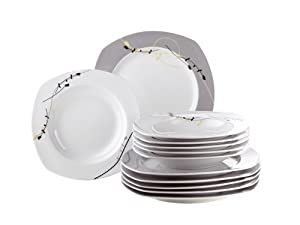 Domestic Estiva 922639 12-Piece Dinner Service with 6 Flat and 6 Soup Plates