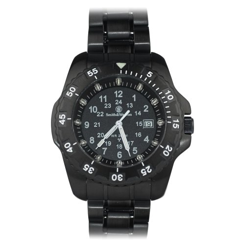 Smith and Wesson 32 Blue Tubed Tritium watch Black Stainless Steel Band
