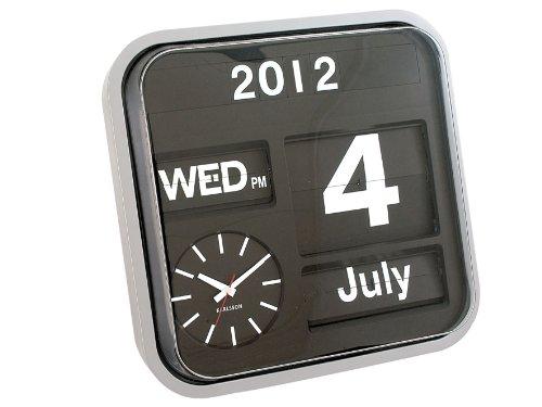 Karlsson Flip Calendar Clock - Silver LARGE