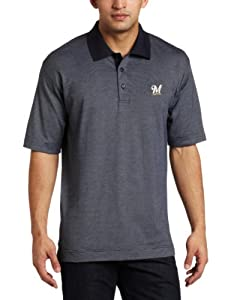 MLB Milwaukee Brewers Mens Drytec Resolute Polo Knit Short Sleeve Top by Cutter & Buck