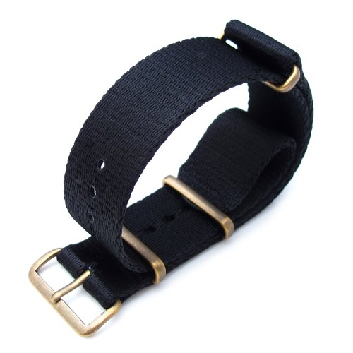 Miltat 21Mm G10 Watch Strap Ballistic Nylon Extra Thick Armband - Ip Antique Bronze Hardware
