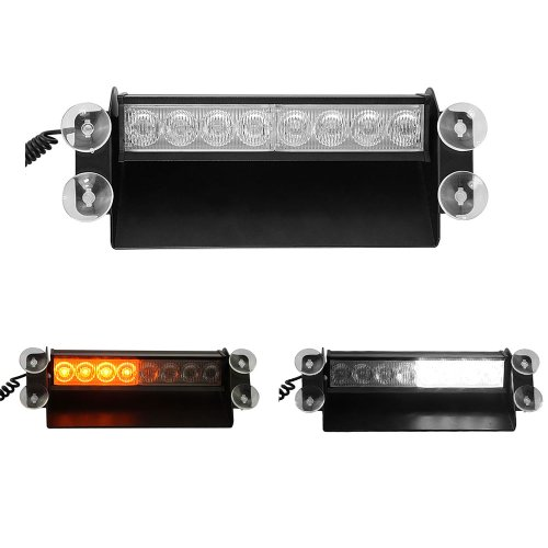 Gadgetzone(Us Seller) 8 Led Emergency Vehicle Warning Flashing Strobe Lighting Kit Fit For Any Cars Suvs Trucks 3 Flashing Modes Amber And White Color