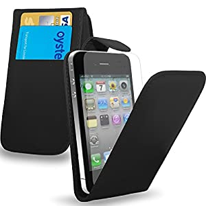 Apple iPhone 4S /4 - Premium Leather Wallet Flip Case Cover Pouch + Long Touch Stylus Pen + Mini Touch Stylus Pen + Screen Protector & Polishing Cloth (Flip Black)