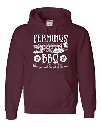 XXX-Large Maroon Adult Terminus BBQ Funny Zombie Apocalypse Sweatshirt Hoodie (Bbq Clothing compare prices)