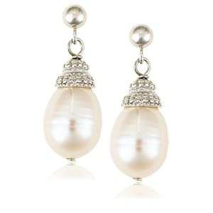 White Freshwater Cultured Pearl Drop Earrings with Sterling Silver