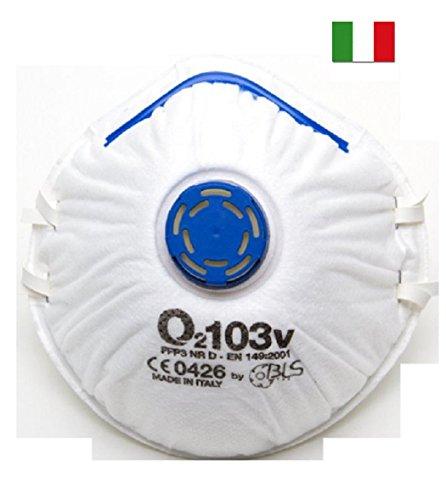 10 Mascherine antipolvere BLS protettive FFP3 con valvola EN 149:2001+A1:2009 Made in Italy