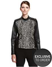 Autograph Ponyskin Leather Animal Print Jacket