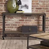 Largo Industrial Age Sofa Table with Casters