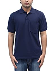 Romano Men's Polo Neck Blue Cotton T-Shirt - B00V4V66F2