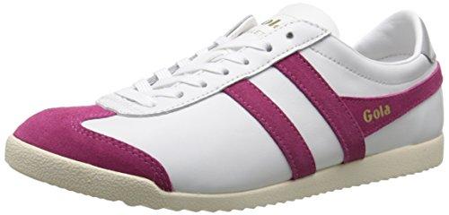 Gola Women's Bullet Leather Fashion Sneaker, White/Hot Fuchsia, 8 M US