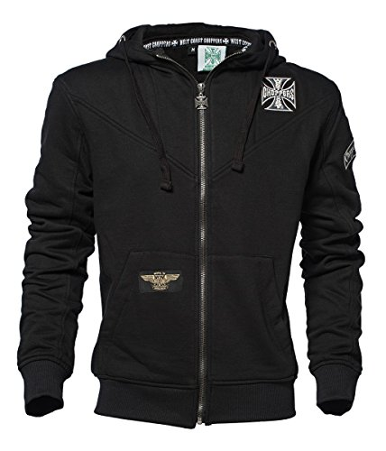 West Coast Choppers Zip Hoody Cross Panel, Color:black;Größe:L