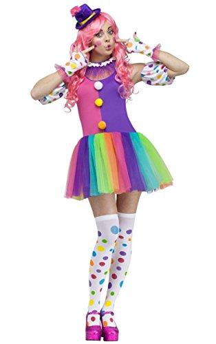 Fun World Costumes Women's Clownin' Around Adult Costume, Purple/White, Medium/Large