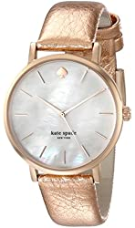 Kate Spade New York Women's Metro Rose Gold-Tone Watch with Metallic Leather Band