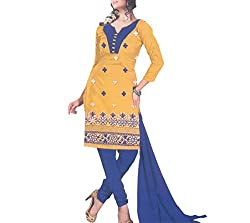 Gilora Fashions Women's Cotton Unstitched Dress Material (GF-115_Yellow and blue)