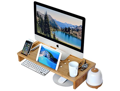 ROYAL CRAFT WOOD Luxury Monitor Stand Riser, Bamboo Office Desk Storage Organizer (Upright Desk Calendar 2015 compare prices)