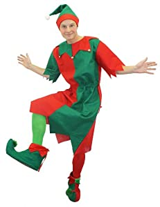 ELF CHRISTMAS FANCY DRESS COSTUME GREEN RED LONG TUNIC WITH HAT CHEEKY ELF SANTA'S LITTLE HELPER ELVES IN EXTRA LARGE