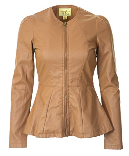 Maralyn & Me Junior Collarless Faux Leather Jacket-Small, Cognac