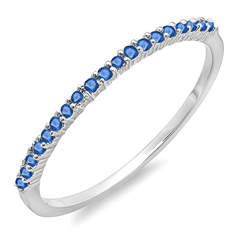 015-Carat-ctw-18K-White-Gold-Round-Blue-Sapphire-Ladies-Anniversary-Wedding-Band-Stackable-Ring