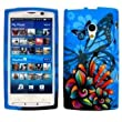 Blue Colourful Sony Ericsson Xperia X10 Flower / Floral Hydro Soft Solid TPU Silicone Print Gel Skins Mobile Phone Case Cover